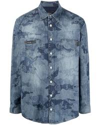 Camisa vaquera de camuflaje azul de Philipp Plein
