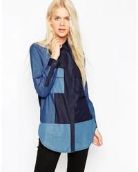 Camisa vaquera de patchwork azul de Asos