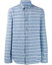 Camisa vaquera de rayas horizontales celeste de Balmain