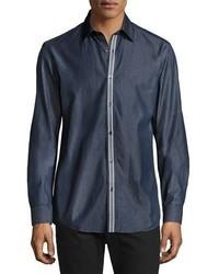 Camisa vaquera de rayas verticales azul marino