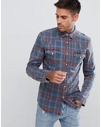Camisa vaquera de tartán azul marino de ASOS DESIGN