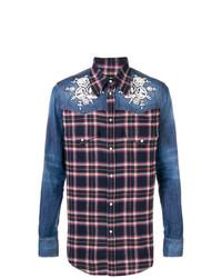 Camisa vaquera de tartán azul marino de DSQUARED2