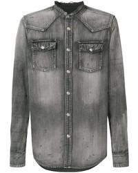 Camisa vaquera en gris oscuro de Balmain