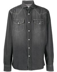 Camisa vaquera en gris oscuro de Brunello Cucinelli