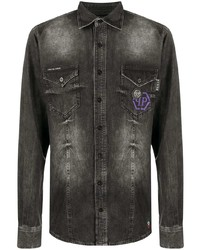 Camisa vaquera en gris oscuro de Philipp Plein