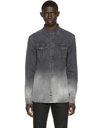 Camisa vaquera en gris oscuro de Pierre Balmain