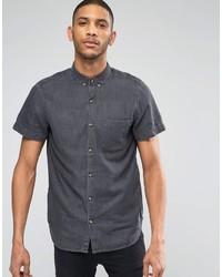 Camisa vaquera en gris oscuro de Pull&Bear