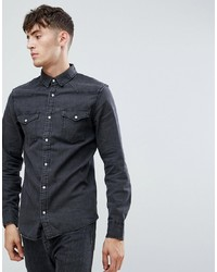 Camisa vaquera en gris oscuro de Stradivarius