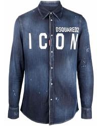 Camisa vaquera estampada azul marino de DSQUARED2