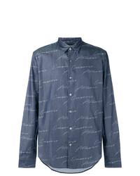 Camisa vaquera estampada azul marino de Emporio Armani