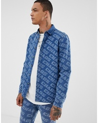 Camisa vaquera estampada azul de ASOS DESIGN