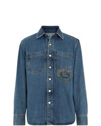Camisa vaquera estampada azul de Burberry