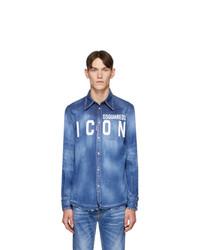 Camisa vaquera estampada azul de DSQUARED2