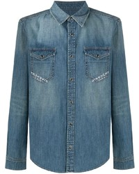 Camisa vaquera estampada azul de Givenchy