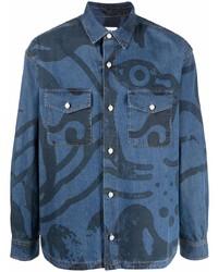 Camisa vaquera estampada azul de Kenzo