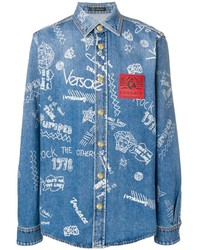 Camisa vaquera estampada azul de Versace