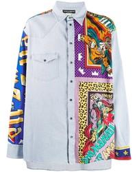 Camisa vaquera estampada celeste de Dolce & Gabbana