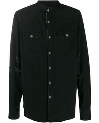 Camisa vaquera estampada negra de Balmain