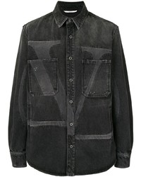 Camisa vaquera estampada negra de Valentino