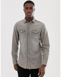 Camisa vaquera gris de Jack & Jones