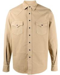 Camisa vaquera marrón claro de Saint Laurent