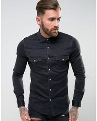 Camisa vaquera negra de Asos