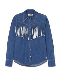 Camisa vaquera сon flecos azul de MSGM