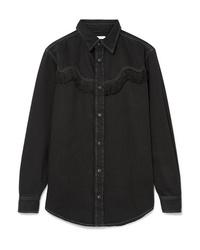 Camisa vaquera сon flecos negra de Ganni