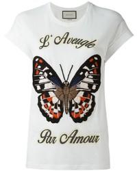 Camiseta Bordada Blanca de Gucci