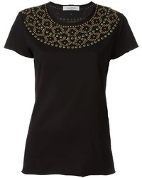 Camiseta con adornos negra de Valentino
