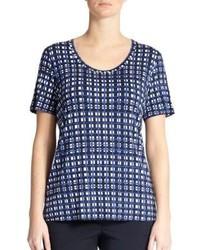 Camiseta con cuello circular a cuadros azul
