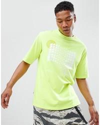 Camiseta con cuello circular a cuadros en amarillo verdoso de ANTIMATTER