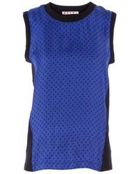 Camiseta con cuello circular a lunares azul de Marni