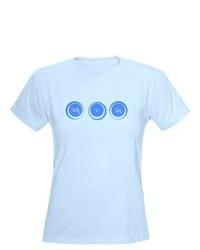 Camiseta con cuello circular a lunares celeste