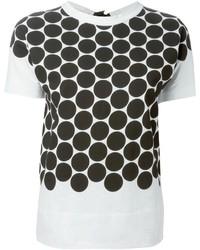 Camiseta con cuello circular a lunares en blanco y negro de Marni