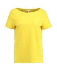 Camiseta con cuello circular amarilla de Esprit