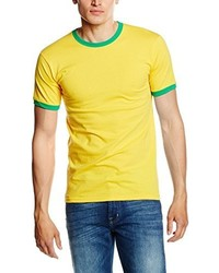 Camiseta con cuello circular amarilla de Fruit of the Loom