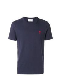 Camiseta con cuello circular azul marino de AMI Alexandre Mattiussi
