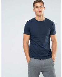 Camiseta con cuello circular azul marino de Asos