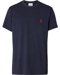 Camiseta con cuello circular azul marino de Burberry