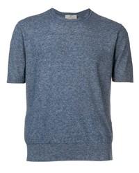 Camiseta con cuello circular azul marino de Canali