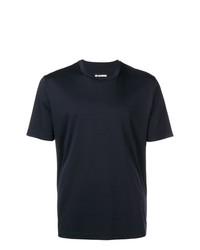 Camiseta con cuello circular azul marino de Jil Sander