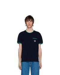 Camiseta con cuello circular azul marino de Kenzo