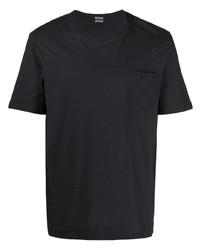 Camiseta con cuello circular azul marino de Massimo Alba