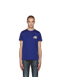 Camiseta con cuello circular azul marino de Moncler