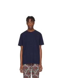 Camiseta con cuello circular azul marino de Noah NYC
