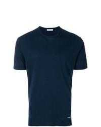 Camiseta con cuello circular azul marino de Paolo Pecora