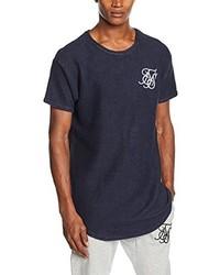 Camiseta con cuello circular azul marino de Sik Silk