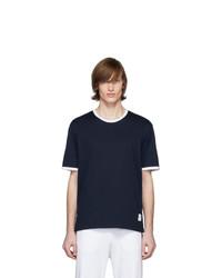 Camiseta con cuello circular azul marino de Thom Browne