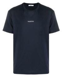 Camiseta con cuello circular azul marino de Valentino